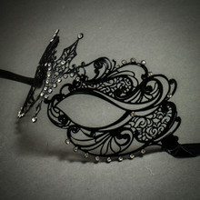 Charming Princess Venetian Masquerade Mask With Diamonds - Black