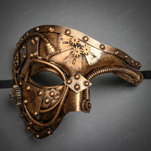 Steampunk Phantom of the Opera Venetian Masquerade Costume - Dark Gold