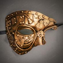 Steampunk Phantom of the Opera Venetian Masquerade Costume - Dark Gold
