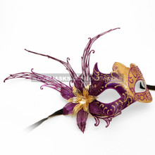 New Shiny Side Flower Venetian Masquerade Party Mask - Gold Purple - 4