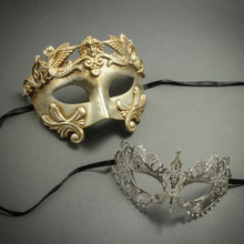 Silver Venetian Roman Warrior Greek Men Mask & Laser Cut Filigree Princess Masquerade Masks for Couple