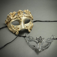 Party Masquerade Masks for Couple - Silver Venetian Roman Warrior Greek Men Mask & Laser Cut Filigree Rhinestones
