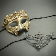Silver Venetian Roman Greek Warrior Mask & Princess Crown Laser Cut Rhinestone Masquerade Party Masks for Couple