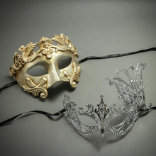 Silver Venetian Roman Warrior Greek Men Mask & Butterfly Laser Cut Rhinestones Masks Couple's Masquerade