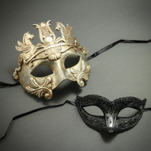 Silver Venetian Warrior Pegasus Mask & Black Glitter Eye Mask - Couple's Prom Party Masquerade