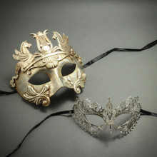 Silver Venetian Warrior Pegasus Mask & Princess Laser Cut Rhinestones Masquerade - Couple Party Masks