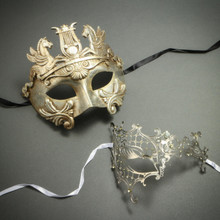 Silver Venetian Warrior Pegasus Mask & Phantom of Opera Laser Cut Rhinestone Mask - Party Mask Masquerade for Couple