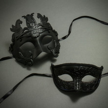 Black Venetian Warrior Pegasus Mask & Luxury Glitter Lining Women Eye Mask Party Masquerade for Couple