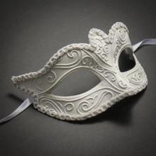 Classic Glitter Venetian Women Masquerade Mask- White