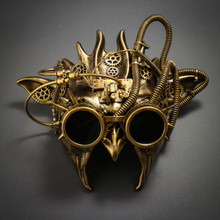 Steampunk Demon Devil Satan Masquerade Mask - Black Gold
