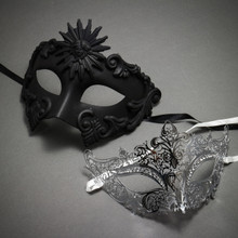 Couple's Masquerade Masks - Black Venetian Roman Sun Warrior & Silver Royal Queen Laser Cut Mask