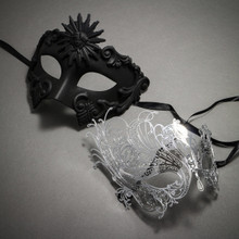 Couple's Masquerade Masks - Black Venetian Roman Sun Warrior & Silver Charming Swan Laser Cut Mask