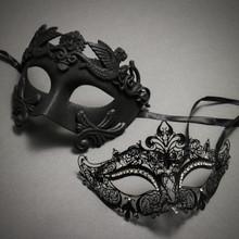 Couple's Masquerade Masks - Black Venetian Greek Roman Warrior King & Royal Queen Laser Cut Mask
