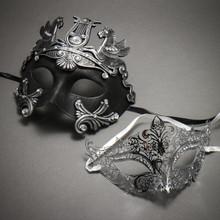 Couple's Masquerade Masks - Black Silver Roman Horse Warrior & Silver Royal Queen Laser Cut Mask