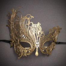 Beautiful Swan Metal Laser Cut Silver Stones Masquerade Mask - Gold