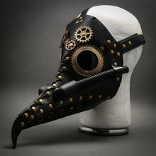 Steampunk Long Nose Plague Doctor Mask Masquerade Halloween Costume - Black Gold