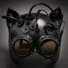Steampunk Goggles Gatto Cat Venetian Mask Masquerade - Black