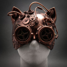 Metallic Steampunk Goggles Venetian Gatto Cat Mask Masquerade - Copper