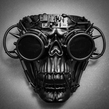 Steampunk Skull Masquerade Full Face Mask with Goggles - Black