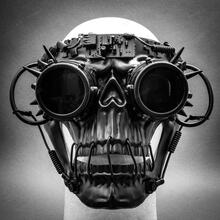 Steampunk Skull Masquerade Full Face Mask with Goggles - Black (on Model)
