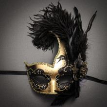 Venetian Half Moon Masquerade Feather Mask - Gold Black