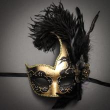 Venetian Half Moon Masquerade Feather Mask - Gold Black