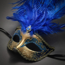 Venetian Glitter Crystal Masquerade Party Mask with Feather - Gold Blue