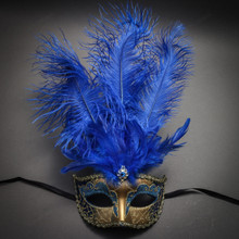 Venetian Glitter Crystal Masquerade Mask with Feather - Gold Blue