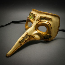 Antique Music Long Nose Carnivals Masquerade Party Mask - Beige Gold