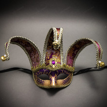 Jester Joker Venetian Half Face Mask with Bells - Purple Gold