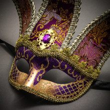 Jester Joker Venetian Half Face Mask with Bells - Purple Gold