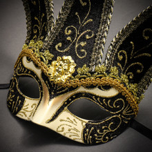 Jester Joker Venetian Half Face Mask with Bells - Gold Black