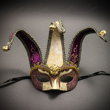 Jester Joker Venetian Half Face Mask with Bells - Gold Purple