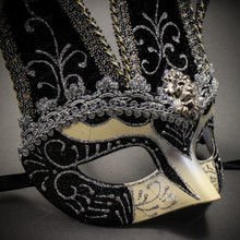 Jester Joker Venetian Half Face Mask with Bells - Silver Black