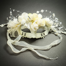 Elegant Venetian Laser Cut Metal Flower Rhinestone Wedding Mask - White