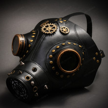 Leather Steampunk Plague Doctor Gas Mask Halloween Masquerade - Black