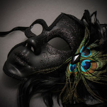 Venetian Glitter Half Moon Party Mask with Peacock Feather - Black