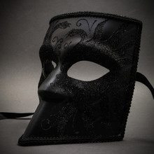 Bauta Full Face Luxury Venetian Party Mask Masquerade - Black