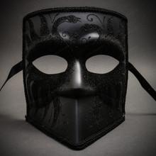 Bauta Full Face Luxury Venetian Men & Women Party Mask Masquerade - Black