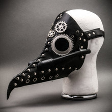 Steampunk Long Nose Plague Doctor Mask Masquerade Halloween Costume - Black Silver