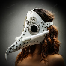 Steampunk Long Nose Plague Doctor Mask Masquerade Halloween Costume - White with Model