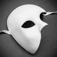Venetian Phantom of the Opera Masquerade Mask Half Face - White