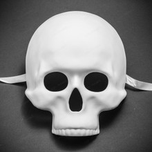 Halloween Skull Skeleton Adult Costume Masquerade Face Mask - White