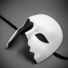 Unpainted Half Face Costume Masks Masquerade - White