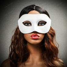 Venetian Half Face Eye Mask Masquerade - White (with female model)