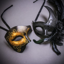 Black Gold Glitter Full Face Phantom Of The Opera & Black Side Feather Glitter Couple Masks Set