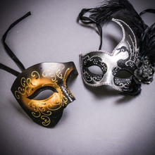 Black Gold Glitter Full Face Phantom Of The Opera & Silver Black Side Feather Glitter Couple Masks Set