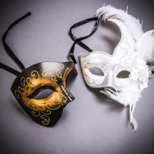 Black Gold Glitter Full Face Phantom Of The Opera & White Side Feather Glitter Couple Masks Set