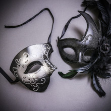 Black Silver Glitter Full Face Phantom Of The Opera & Black Side Feather Glitter Couple Masks Set