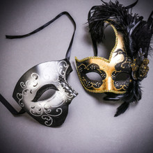 Black Silver Glitter Full Face Phantom Of The Opera & Gold Black Side Feather Glitter Couple Masks Set